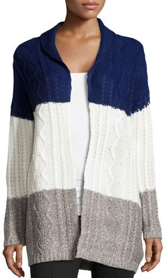 Neiman Marcus Colorblock Cable-Knit Cardigan, Navy/Ivory/Heather Gray on shopstyle.com