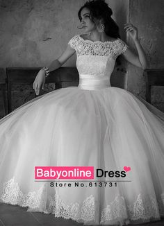 Newest A-line Romantic Appliques Bottom Lace Top Tulle Wedding Dresses Gowns With Short Sleeves 2015 Vestidos De Novia China