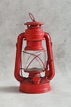 Vintage kerosene lamp kerosene lantern red by MagicVintageShop