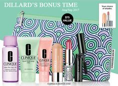 A free 7-pc gift when you spend $28 or more at Dillard's. Sped more and turn your 7-pc gift into 9-piece gift! http://clinique-bonus.com/dillards/