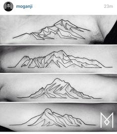 Geometric one line mountain tattoo