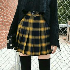 'Miss Morgue' Black and yellow plaid skirt # punk Fashion 'Miss Morgue' Black and yellow plaid skirt Style Outfits, Mode Outfits, Grunge Outfits, Grunge Fashion, Gothic Fashion, Fashion Beauty, Fashion Outfits, Street Fashion, Fashion Ideas