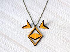 Set necklace & earrings chevron arrow yellow geo by goldenspleen, €29.90