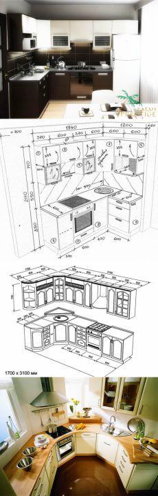 Эскиз кухни с размерами: угловая кухня, чертеж кухни своими руками, интерьер в картинках, как нарисовать дизайн проекта,чертежи, макеты, видео