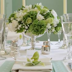love green and white arrangements