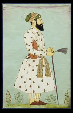 Aurangzeb (1618-1707) standing facing right holding a gauri and leaning on a sword