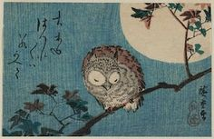 Small Horned Owl on a Maple Branch Under a Full Moon - Utagawa Hiroshige