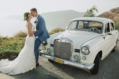 Our lovely Sarah & Ben getting away in style with this antique Mercedes 😍 Photograph Bridal Car, Wedding Transportation, Greece Wedding, Classic Cars, Wedding Day, Beautiful Women, Wedding Photography, Paros, Antique