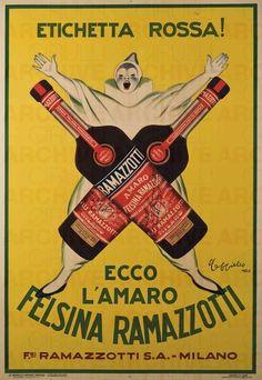 Leonetto Cappiello Ecco L'Amaro Felsina Ramazzotti, 1926 stampa litografica a colori su carta 200 x 140 cm