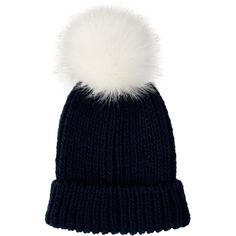 Navy Faux Fur Pom Pom Hat ($8.38) ❤ liked on Polyvore featuring accessories, hats, navy blue hat, pom pom hat, fake fur hats, pompom hat and navy hat