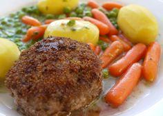 Karbonade med stuvede ærter og gulerødder