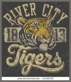 Vector three color retro quotTigersquot athletic design complete with tiger head mascot illustration, vintage athletic fonts designed by myself and matching textures all on separate layers, of course