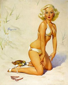 Gil Elvgren - Vintage Pin up girl at the beach. Nice curves ♥