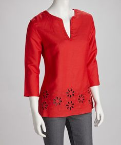 Take a look at this Vivid Scarlett Floral Eyelet Tunic by Appraisal on #zulily today!