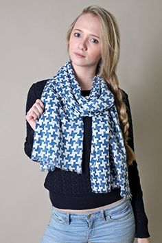 Women's Houndstooth Scarf (Blue / White) at Amazon Women's Clothing store: Fashion Scarves