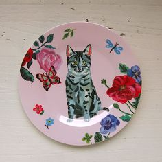 Petit Jour Paris ナタリー・レテ メラミンプレート ネコ ピンク - パリと、猫と、エトセトラ。「マッシュノート」 http://mashnote.jp/?pid=95267783