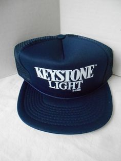 VTG Keystone Light Navy Mesh 5 Panel Baseball Cap Adjustable Hat Snapback  Beer  DesignerPro   a279802bb473