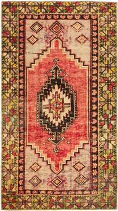 Hand-knotted Anatolian Vintage Cream, Light Red Wool Rug