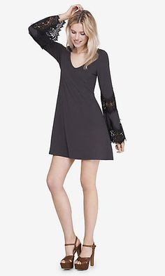 GRAY AND BLACK LACE INSET TRAPEZE DRESS