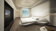 A luxurious spaceship - Take a look inside the ME Dubai Hotel by Zaha Hadid Futuristic Bedroom, Futuristic Interior, Futuristic Furniture, Futuristic Design, Bedroom Bed Design, Modern Bedroom Design, Bedroom Decor, Bedroom Designs, Small Apartment Layout
