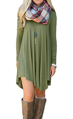 Ladylala Women's Long Sleeve Casual Loose Tunic T-Shirt Party Dress ArmyGreen 3XL    Price:$6.99 - $19.99 & Free Return on some sizes and colors  Sale:Lower price available on select options  Fit:  As expected (59%)