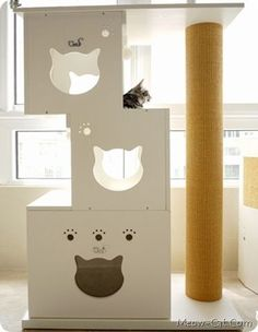 Don't buy, build an unique cat tree in the home. Get inspired by this collection of 27 free DIY cat tree plans. Diy Pour Chien, Cat Tree Plans, Diy Cat Tent, Cat Perch, Cat Towers, Cat Climbing, Cat Room, Unique Cats, Cat Condo
