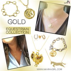 Navika Girl's GOLD Equestrian Collection. Various styles including bracelets, necklaces, and more! SHOP NOW: www.navikagirl.com/equestrian