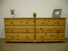 LARGE LOW 6 DRAWER SOLID PINE CHEST - W 157 - D 41 - H 65 CM - £125 http://www.drabtofabfurniture.co.uk/non-painted-furniture/