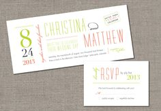 DIY Printable - Modern Ticket Style Wedding Invitation and Reply Card Set. $50.00, via Etsy.