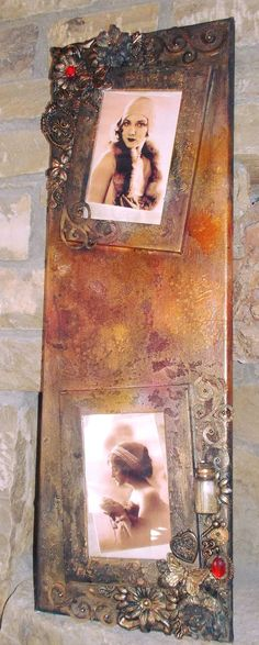 Mixed media picture frames on canvas. Vintage touch with color mists bronze, rust and orange.