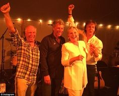 AGING BUT FAMOUS: Hillary Clinton walked on stage to join Sir Paul McCartney, Jon Bon Jovi and Jimmy Buffett during a Tuesday fundraiser at Buffet's home in the tony Hamptons