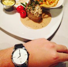Steak with peppercorn sauce and fries, and the Trident Boston watch. Two timeless classics. Check it out at mytrident.co.za