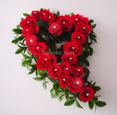 Red roses in a heart