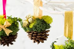 How to Turn Pinecones into Ornaments That Are Seriously Chic via Brit + Co