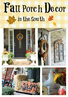 Fall porch decorating in the South - I especially love the idea of the canner being used as a planter.