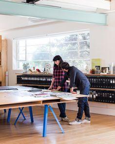 March Studio (great binder shelves) even better paper storage under table