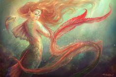 Mermaid+and+her+alter+ego+fish+by+MartaNael.deviantart.com+on+@DeviantArt