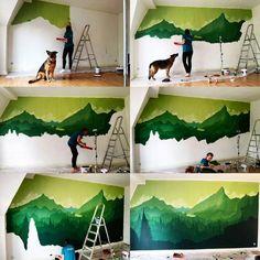 """Gefällt 3 Mal, 1 Kommentare - Daria (@dariamars) auf Instagram: """"Malprojekt mit Schmackes #Wald #Wand #Malen #Landschaft #Grün #Wandern #Wandmalerei #Wandtattoo…"""""""