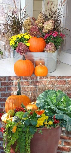 22 gorgeous fall planters for Thanksgiving & fall decorations: best fall flowers for pots & great autumn planter ideas with mums pumpkins kale & more! - A Piece of Rainbow 22 gorgeous fall planters for Thanksgiving & fall decorations: best fall flowers fo Fall Flower Pots, Fall Flowers, Fall Flower Gardens, Mums In Pumpkins, Fall Planters, Outdoor Planters, Autumn Planter Ideas, Fall Potted Plants, Fall Mums