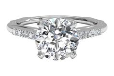 Solitaire Diamond Modern French-Set Band Engagement Ring - in White Gold (0.10 CTW)