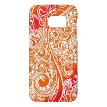 Bright Red Orange Retro Paisley Floral Pattern Samsung Galaxy S7 Case