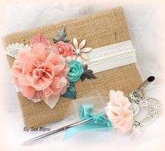 Burlap Wedding Guest Book and Pen Set Shabby Chic Vintage Inspired in Ivory, Coral and Tiffany Blue with Lace and Pearls