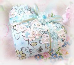 Sachet Heart  Heart Sachet 5 inch Aqua Blue and by CharlotteStyle