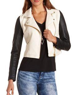 2-Tone Motorcycle Jacket: Charlotte Russe