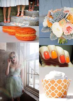 tangerine tango and seafoam green wedding inspiration