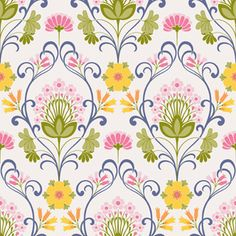 """Eco Wallpaper """"Happy 3876"""" Love the sort of modern take on the Seventies take on Art Noveau"""