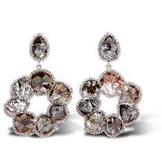 Round Cut-out White Gold Multicolored Diamond Earrings - 18 KT White Gold Earrings with Multicolored Diamonond Slices and White Round Brilliant Cut Diamonds. DIA CTW: 26.65