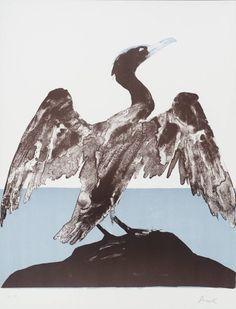 Dame Elisabeth Frink 'Cormorant', 1974 Lithograph on paper 610 x 502 mm © Frink Estate Elisabeth Frink, Gothic Drawings, Sea Birds, Bird Art, Art Google, Art Forms, Printmaking, Illustration Art, Prints