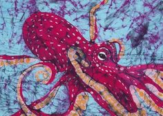 Octopus Fine Art Batik Greeting Card