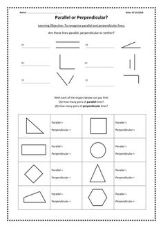 Parallel and perpendicular lines. Worksheet ...